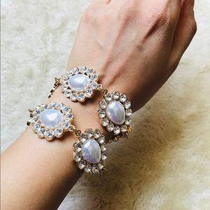 Jewelry - Sparkling Faux Pearl Crystal Bridal Bracelet Set